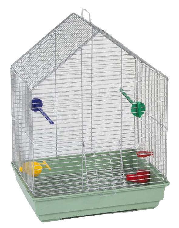 "Клетка для птиц Велес ""Lusy Fly"", цвет: зеленый, 30 х 42 х 63 см"