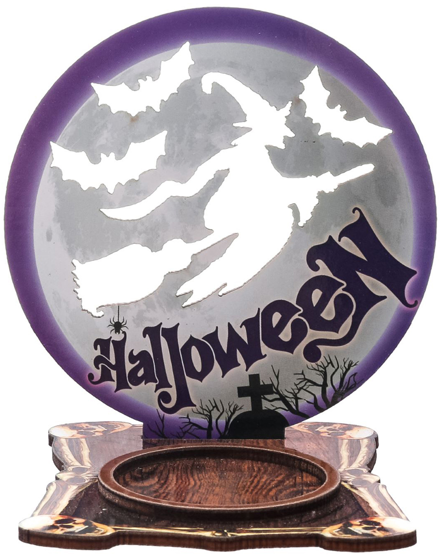 Подсвечник Halloween, цвет: коричневый, фиолетовый, 9 х 0,6 х 9,4 см2433969Хэллоуин — это маскарад, карнавал, веселая игра. Чтобы вы целиком погрузились в празднование самой страшной ночи в году, мы подготовили серию подсвечников для оформления интерьера, которые не оставят равнодушными окружающих.Яркий дизайн, оригинальные рисунки, плотная бумага и фанера — вот отличительные черты наших украшений.Поставьте аксессуар с горящей свечой к стене и получите на ней проекцию картинки.Поставляется в пакете с ярким дизайнерским клапаном.