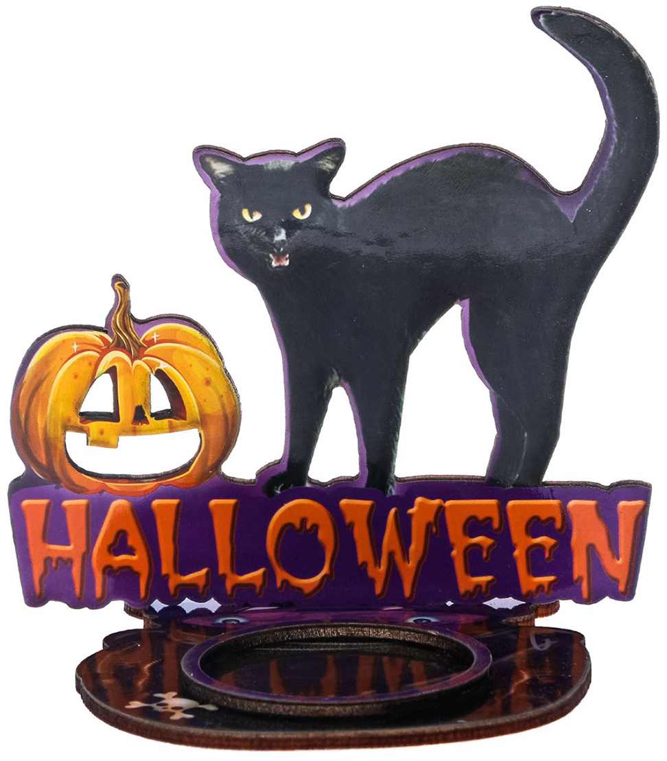 Подсвечник Halloween, цвет: черный, фиолетовый, 10 х 0,6 х 9,4 см2433972Хэллоуин — это маскарад, карнавал, веселая игра. Чтобы вы целиком погрузились в празднование самой страшной ночи в году, мы подготовили серию подсвечников для оформления интерьера, которые не оставят равнодушными окружающих.Яркий дизайн, оригинальные рисунки, плотная бумага и фанера — вот отличительные черты наших украшений.Поставьте аксессуар с горящей свечой к стене и получите на ней проекцию картинки.Поставляется в пакете с ярким дизайнерским клапаном.