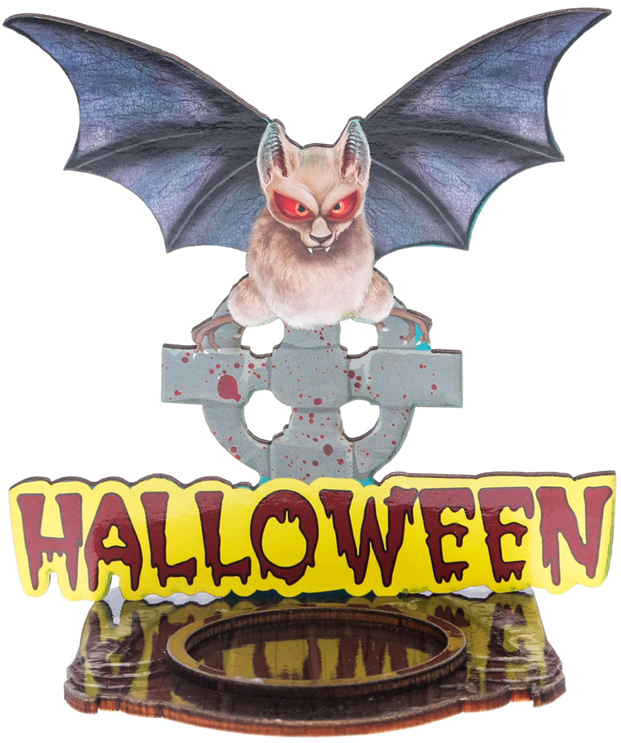 Подсвечник Halloween, цвет: коричневый, серый, 9,7 х 0,6 х 9 см2433970Хэллоуин — это маскарад, карнавал, веселая игра. Чтобы вы целиком погрузились в празднование самой страшной ночи в году, мы подготовили серию подсвечников для оформления интерьера, которые не оставят равнодушными окружающих.Яркий дизайн, оригинальные рисунки, плотная бумага и фанера — вот отличительные черты наших украшений.Поставьте аксессуар с горящей свечой к стене и получите на ней проекцию картинки.Поставляется в пакете с ярким дизайнерским клапаном.