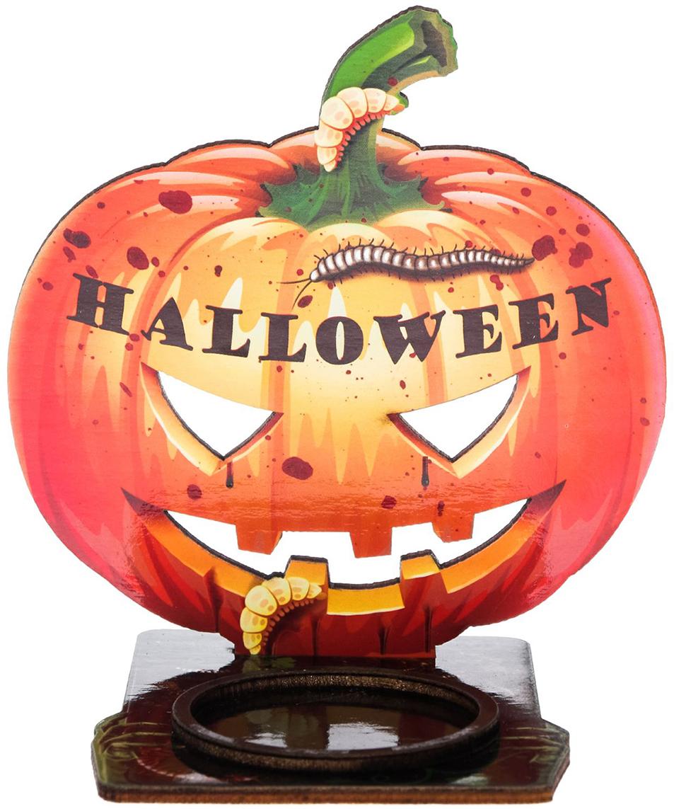 Подсвечник Halloween, цвет: коричневый, красный, 10 х 0,6 х 9,1 см2433968Подсвечник Halloween подходит для оформления интерьера, чтобы вы целиком погрузились в празднованиесамой страшной ночи в году. Подсвечник не оставит равнодушными окружающих. Яркий дизайн, оригинальные рисунки, плотная бумага и фанера - вот отличительные черты этого украшения. Поставьте аксессуар с горящей свечой к стене и получите на ней проекцию картинки. Поставляется в пакете с ярким дизайнерским клапаном.