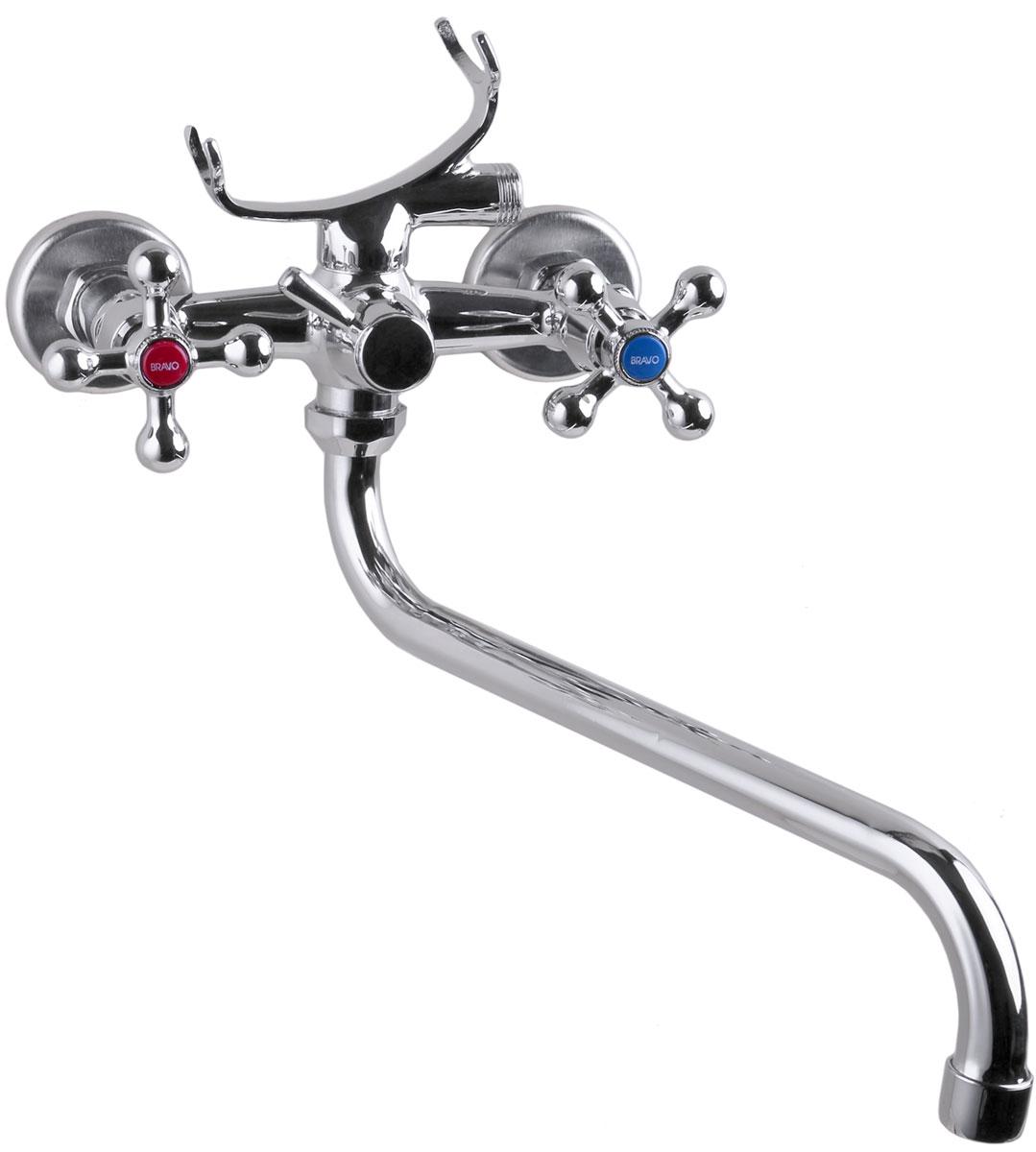 Смеситель для ванны Komrad, с длинным поворотным изливом, цвет: хром. S11-141-K-1 смеситель для кухни komrad цвет хром s11 361 2