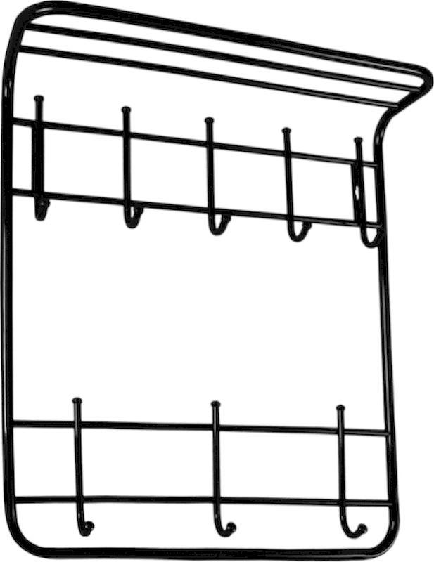 Вешалка настенная ЗМИ, 2-ярусная, с полкой, 8 крючков, цвет: черный, 60 х 21 х 72 смВСП 8 ЧНазначение: Настенная вешалка для размещения одежды и головных уборов. Область применения: В любых помещениях – дом, офис, общепит и других. Материал: Стальная труба диаметром 10 и 16 мм; стальные колпачки; полимерно-порошковое покрытие. Конструкция: Цельносварная.Упаковка: ПЭТ пленка. Габариты (Д х Ш х В): В собранном виде: 600 х 210 х 720 мм.В упакованном виде: 600 х 210 х 720 мм.Вес Нетто: 2 кг. Вес Брутто: 2,05 кг. Объем: 0,021 куб.м. Отличительные особенности: - надежная сварная конструкция;- практичная двухъярусная вешалка с 8 крючками;- нижний ярус крючков удобно использовать для размещения сумок, зонтов, а также детской одежды;- полка удобна для хранения головных уборов;- классическая форма.При правильной эксплуатации срок службы 10 лет.
