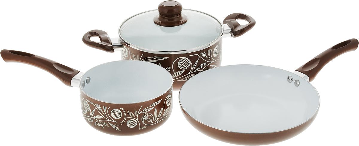 Набор кухонной посуды Calve Premium Quality, цвет: коричневый, 4 предмета