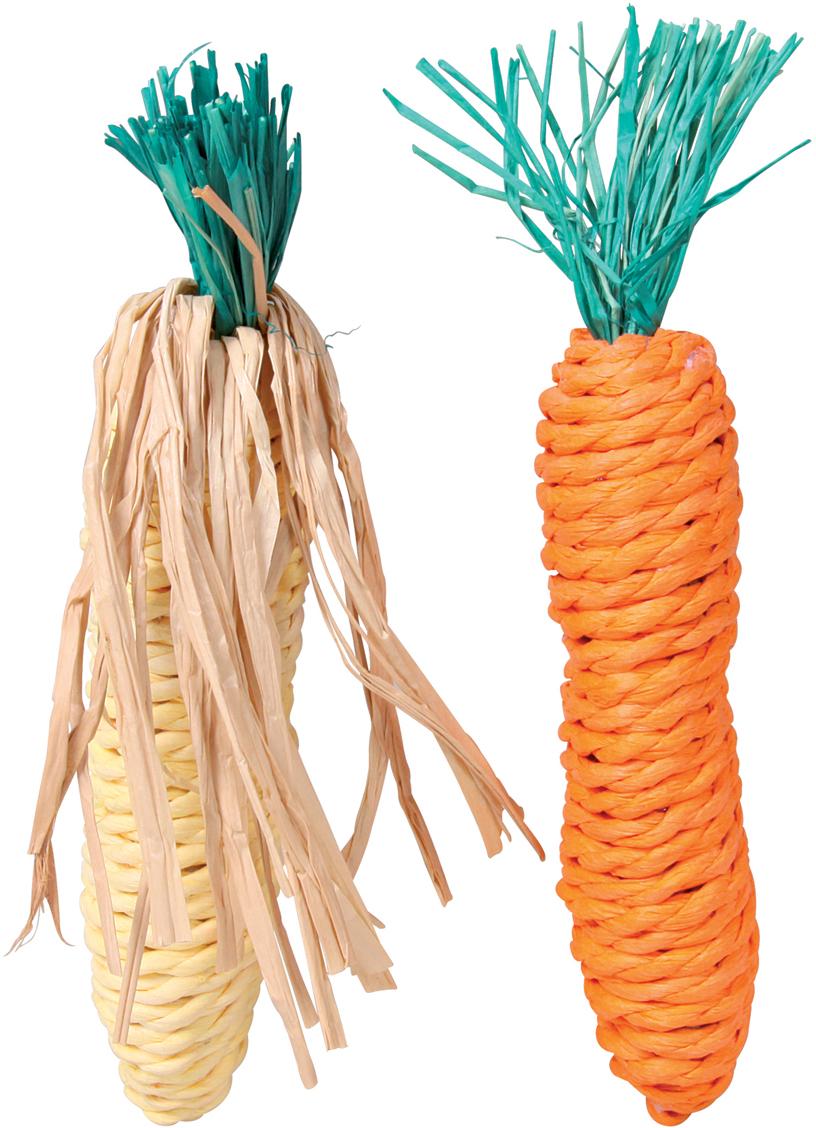 Набор игрушек для грызунов Trixie Морковь и кукуруза, длина 15 см, 2 шт6192Набор игрушек Trixie Морковь и кукуруза предназначен для грызунов. Изделия изготовлены из сизаля. Разгрызая их, зверьки стачивают зубы. Игрушки абсолютно натуральные, они являются прекрасными средствами разнообразить досуг вашего питомца.