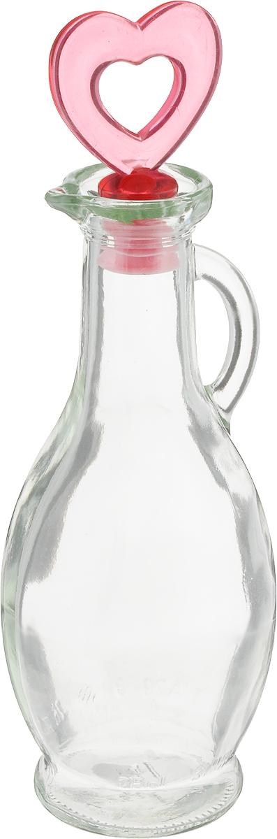 """Емкость для масла или уксуса """"Remmy Home"""", выполненная из стекла, позволит  украсить любую кухню. Она легка в использовании, стоит только перевернуть ее,  и вы с легкостью сможете добавить оливковое или подсолнечное масло, уксус или  соус. Емкость оснащена удобной ручкой и пробкой с пластиковой верхушкой.  Благодаря этому внутри сохраняется герметичность, и содержимое дольше  остается свежим. Диаметр горлышка: 2 см. Высота емкости: 17,5 см."""