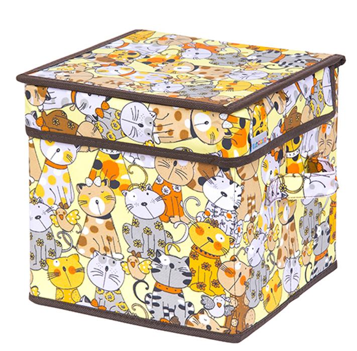 Кофр для хранения вещей El Casa Котята, складной, цвет: лимонный, 22 х 22 х 22 см840268Кофр для хранения представляет собой закрывающуюся крышкой коробку жесткой конструкции, благодаря наличию внутри плотных листов картона. Специально предназначен для защиты Вашей одежды от воздействия негативных внешних факторов: влаги и сырости, моли, выгорания, грязи. Благодаря оригинальному дизайну кофр будет гармонично смотреться в любом интерьере.