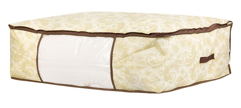 Кофр для хранения одеял и пледов El Casa Узор, цвет: бежевый, 80 х 60 х 25 см370475Вместительный мягкий кофр-чехол для хранения одеял, пледов и домашнего текстиля. Прозрачная вставка позволяет видеть содержимое кофра. Застегивается на молнию. Оригинальный дизайн отлично впишется в любой интерьер.
