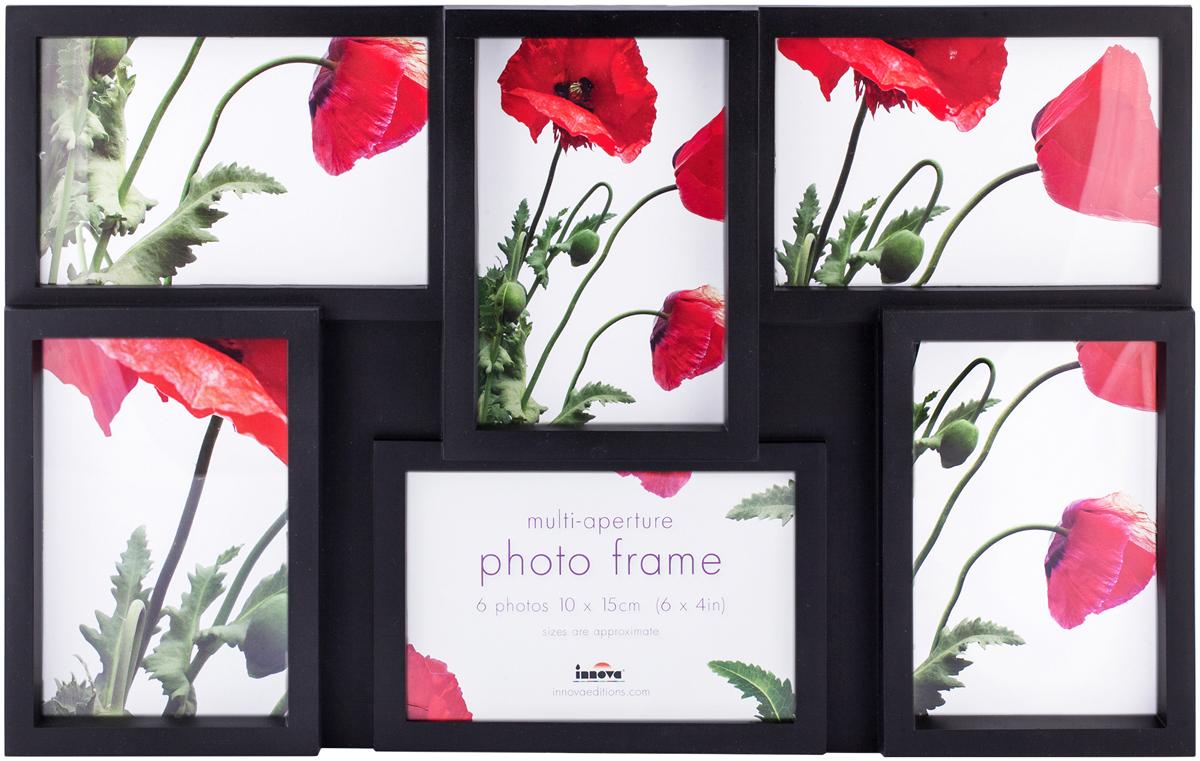 Фоторамка Innova Maggiore, на 6 фото, цвет: черный. PI0306PI0306Фоторамка Innova Maggiore - прекрасный способ красиво оформить ваши фотографии. Изделие рассчитано на 6 фотографий. Фоторамка выполнена из пластика. Ее можно подвесить на стену, для чего с задней стороны предусмотрены специальные металлические петельки. Такая фоторамка поможет сохранить на память самые яркие моменты вашей жизни, а стильный дизайн сделает ее прекрасным дополнением интерьера.