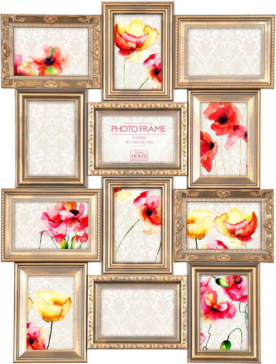 Фоторамка Innova Maggiore, на 12 фото, цвет: золото. PI07216PI07216Фоторамка Innova Maggiore - прекрасный способ красиво оформить ваши фотографии. Изделиерассчитано на 12 фотографий. Фоторамка выполнена из пластика. Ее можно подвесить на стену,для чего с задней стороны предусмотрены специальные металлические петельки.Такая фоторамка поможет сохранить на память самые яркие моменты вашей жизни, а стильныйдизайн сделает ее прекрасным дополнением интерьера.
