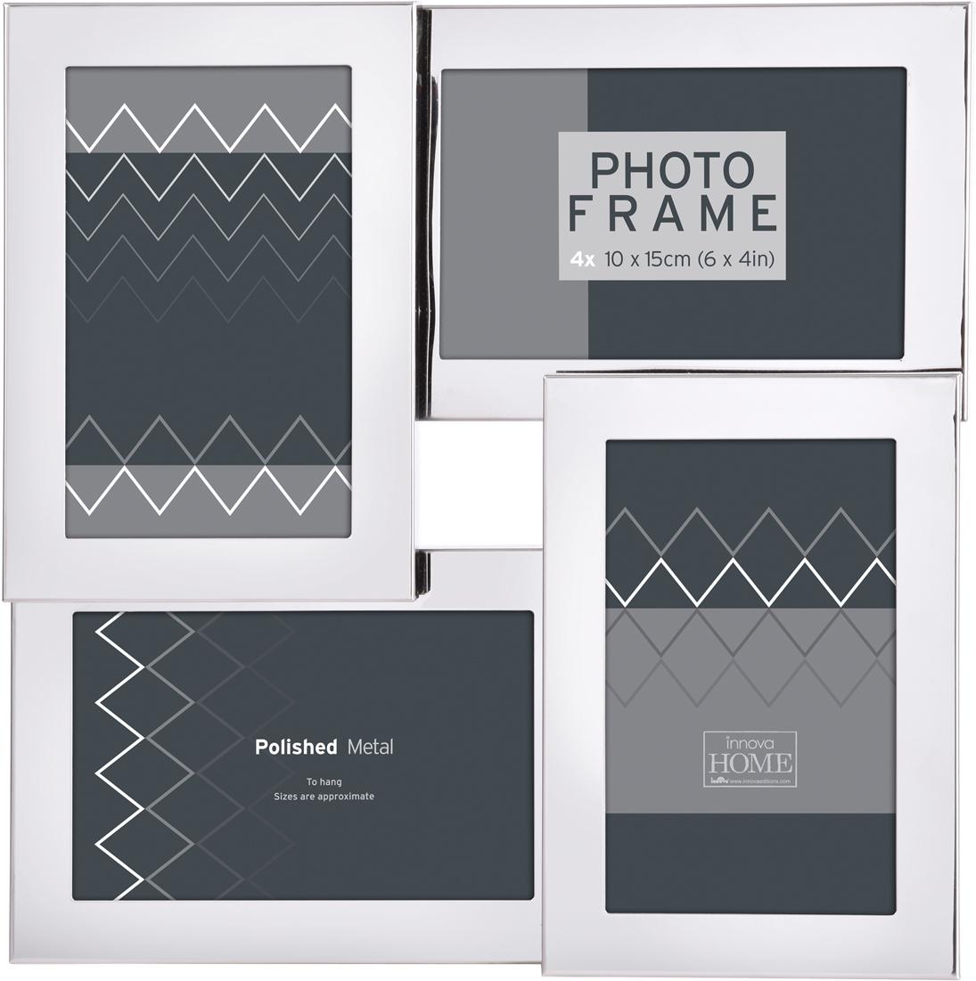 Фоторамка Innova Серебро, на 4 фото, 10 х 15 см. PI08005 фоторамка букет роз на 2 фотографии