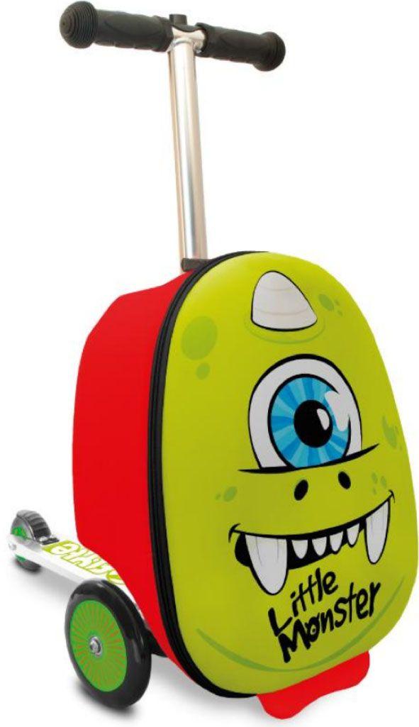 Zinc Flyte Самокат-чемодан детский MonsterZC04104Самокат-чемодан Монстр серии Flyte от британского производителя ZINC - потрясающая новинка, которая приведет в восторг малышей и позволит сделать путешествия с детьми комфортнее и увлекательней! Самокат-чемодан Flyte Monster выполнен в ярком зеленом цвете в виде забавного одноглазого монстрика, привлечет внимание и порадует детей. Чемодан обтекаемой формы из ударопрочного, гибкого нейлона, закрывается на молнию. Внутри чемодана имеются эластичные ремни для надежного закрепления вещей и карман на молнии для необходимых мелочей. Чемодан-самокат позволит детям взять с собой в поездку любимые игрушки и необходимые вещи, и, конечно, с таким самокатом ребенок точно не будет скучать во время путешествия, ожидания поезда или регистрации на рейс в аэропорту. Колеса самоката выполнены из полиуретана, платформа и рулевая стойка из алюминия. Подвижное рулевое управление помогает детям лучше держать равновесие и управлять самокатам. Руль самоката регулируется по высоте. Складная конструкция самоката очень удобна во время поездок, самокат складывается в углубление чемодана. Самокат-чемодан Flyte можно брать с собой в ручную кладь на борт самолета. Основные характеристики:устойчивый к ударам и загрязнению нейлоновый корпус чемодана,размер, соответствующий ручной клади в транспорте,объем чемодана - 25 литров,максимально допустимый вес ребенка - 50 кг, задний ножной тормоз,складная конструкция,яркий дизайн. Самокат предназначен для детей от 4 до 8 лет (рост ребенка 100-130 см). Максимальная высота рулевой стойки - 75 см.