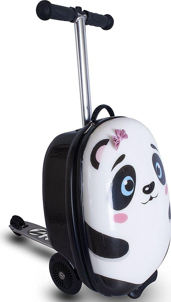 Zinc Flyte Самокат-чемодан детский PandaZC04465Самокат-чемодан Панда серии Flyte от британского производителя ZINC - потрясающая новинка, которая приведет в восторг детей и позволит сделать путешествия с детьми комфортней и увлекательней! Самокат-чемодан Flyte Panda (Панда) выполненный в виде милой улыбчивой панды непременно порадует маленьких путешественниц. Чемодан обтекаемой формы из ударопрочного, гибкого нейлона, закрывается на молнию. Кроме того, возле одного ушка панды прикреплен небольшой розовый бантик, который придает чемодану еще более милый вид. Внутри чемодана имеются эластичные ремни для надежного закрепления вещей и карман на молнии для необходимых мелочей. Чемодан-самокат позволит детям взять с собой в поездку любимые игрушки и необходимые вещи, и, конечно, с таким самокатом ребенок точно не будет скучать во время путешествия, ожидания поезда или регистрации на рейс в аэропорту. Колеса самоката выполнены из полиуретана, платформа и рулевая стойка из алюминия. Подвижное рулевое управление помогает детям лучше держать равновесие и управлять самокатам. Руль самоката регулируется по высоте. Складная конструкция самоката очень удобна во время поездок, самокат складывается в углубление чемодана. Самокат-чемодан Flyte можно брать с собой в ручную кладь на борт самолета. Основные характеристики:устойчивый к ударам и загрязнению нейлоновый корпус чемодана,размер, соответствующий ручной клади в транспорте,объем чемодана - 25 литров,максимально допустимый вес ребенка - 50 кг, задний ножной тормоз,складная конструкция,яркий дизайн. Самокат предназначен для детей от 4 до 8 лет (рост ребенка 100-130 см). Максимальная высота рулевой стойки - 75 см.Как выбрать чемодан. Статья OZON Гид