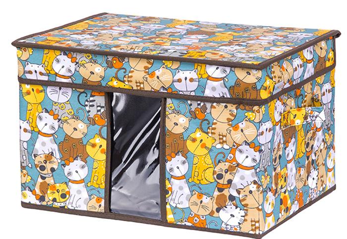Кофр для хранения вещей El Casa Котята, складной, цвет: бирюзовый, 40 х 30 х 25 см840352Кофр для хранения представляет собой закрывающуюся крышкой коробку жесткой конструкции, благодаря наличию внутри плотных листов картона. Прозрачные вставки позволяют видеть содержимое кофра. Специально предназначен для защиты вашей одежды от воздействия негативных внешних факторов: влаги и сырости, моли, выгорания, грязи.Благодаря оригинальному дизайну, кофр будет гармонично смотреться в любом интерьере.