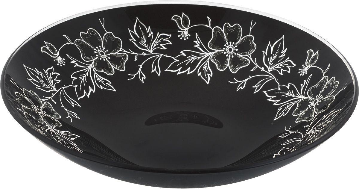 Тарелка глубокая Nina Glass Лара, цвет: черный, диаметр 22,5 смNG85-225-075BМолированное стекло. Высокая температура спекания делает изделие литым, сплошным, не боящимся в дальнейшем царапин. Такую посуду можно мыть в посудомоечной машине. Краска не отстанет, а поверхность безопасна при контакте с любой пищей.