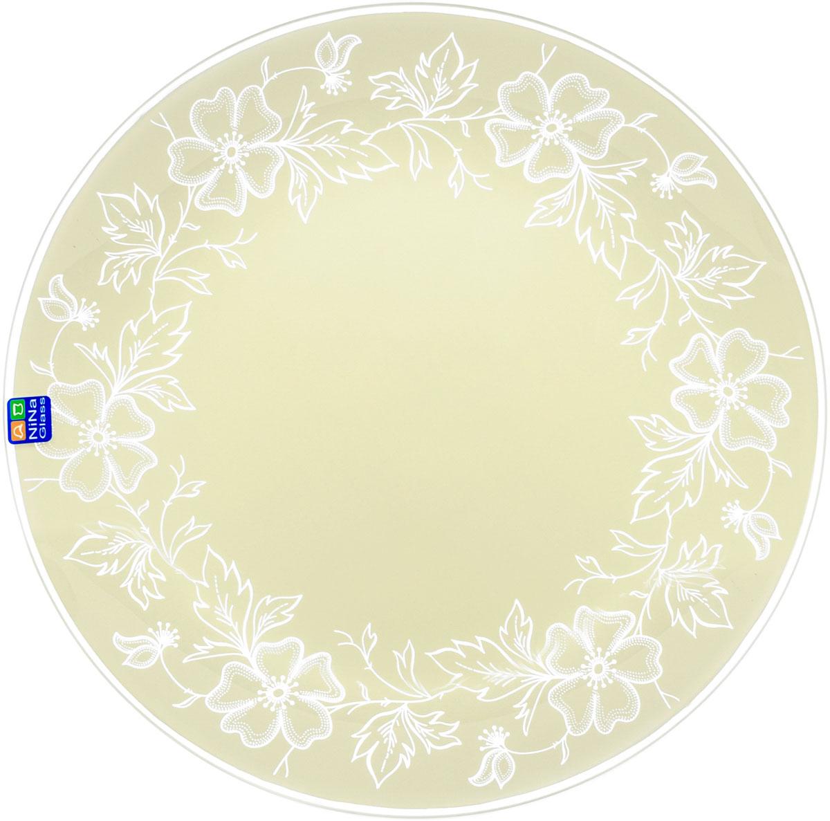 Тарелка круглая Nina Glass Лара, цвет: белый, диаметр 26 см салатник nina glass ажур цвет сиреневый диаметр 16 см