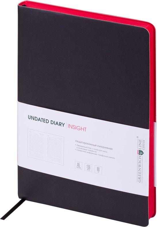 Greenwich Line Ежедневник недатированный Insight 136 листов в линейку цвет красный черный247945Стильный ежедневник с ярким цветным контрастным срезом и ультра-мягкой обложкой из 2 слоев высококачественного кожзаменителя. Цвет обложки - черный, цвет среза - красный. Внутренний блок из 136 листов высококачественной тонированной офсетной бумаги повышенной плотности 80 г/м2, пантонная печать в 2 краски. Прошитый блок. Закладка-ляссе в цвет обложки. Индивидуальная упаковка. Подходит под персонализацию.