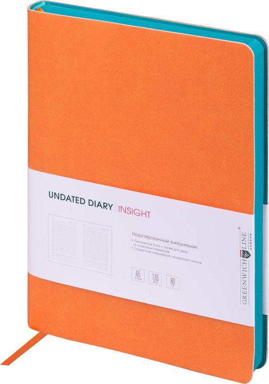 Greenwich Line Ежедневник недатированный Insight 136 листов в линейку цвет оранжевый бирюзовый247947Стильный ежедневник с ярким цветным контрастным срезом и ультра-мягкой обложкой из 2 слоев высококачественного кожзаменителя. Цвет обложки - оранжевый, цвет среза - бирюзовый. Внутренний блок из 136 листов высококачественной тонированной офсетной бумаги повышенной плотности 80 г/м2, пантонная печать в 2 краски. Прошитый блок. Закладка-ляссе в цвет обложки. Индивидуальная упаковка. Подходит под персонализацию.