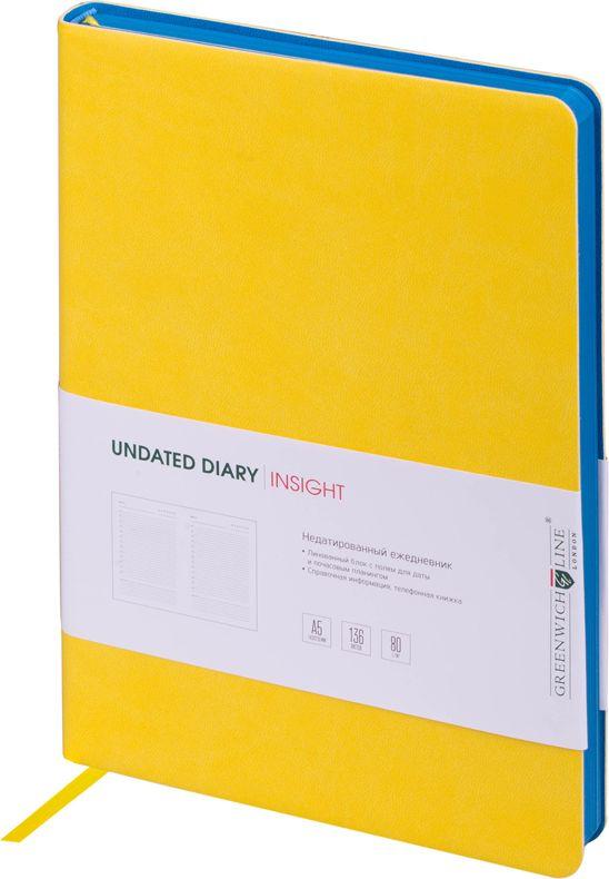 Greenwich Line Ежедневник недатированный Insight 136 листов в линейку цвет желтый синий247948Стильный ежедневник с ярким цветным контрастным срезом и ультра-мягкой обложкой из 2 слоев высококачественного кожзаменителя. Цвет обложки - желтый, цвет среза - синий. Внутренний блок из 136 листов высококачественной тонированной офсетной бумаги повышенной плотности 80 г/м2, пантонная печать в 2 краски. Прошитый блок. Закладка-ляссе в цвет обложки. Индивидуальная упаковка. Подходит под персонализацию.