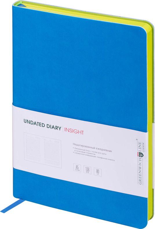 Greenwich Line Ежедневник недатированный Insight 136 листов в линейку цвет светло-зеленый синий247950Стильный ежедневник с ярким цветным контрастным срезом и ультра-мягкой обложкой из 2 слоев высококачественного кожзаменителя. Цвет обложки - синий, цвет среза - салатовый. Внутренний блок из 136 листов высококачественной тонированной офсетной бумаги повышенной плотности 80 г/м2, пантонная печать в 2 краски. Прошитый блок. Закладка-ляссе в цвет обложки. Индивидуальная упаковка. Подходит под персонализацию.