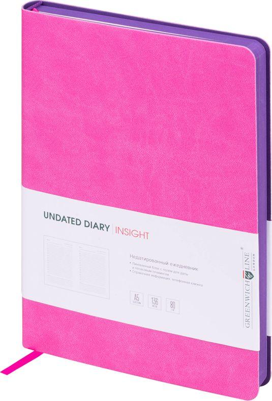 Greenwich Line Ежедневник Insight недатированный 136 листов247951Ежедневник Insight выполнен в ярких цветах. Стильный дизайн.Обложка выполнена из высококачественного кожзаменителя.В ежедневнике 136 листов офсетной бумаги. Плотность - 80 г/м2.Ежедневник Insight украшен красивой закладкой-ляссе.