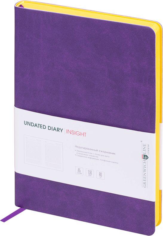 Greenwich Line Ежедневник недатированный Insight 136 листов в линейку цвет желтый сиреневый247952Стильный ежедневник с ярким цветным контрастным срезом и ультра-мягкой обложкой из 2 слоев высококачественного кожзаменителя. Цвет обложки - сиреневый, цвет среза - желтый. Внутренний блок из 136 листов высококачественной тонированной офсетной бумаги повышенной плотности 80 г/м2, пантонная печать в 2 краски. Прошитый блок. Закладка-ляссе в цвет обложки. Индивидуальная упаковка. Подходит под персонализацию.