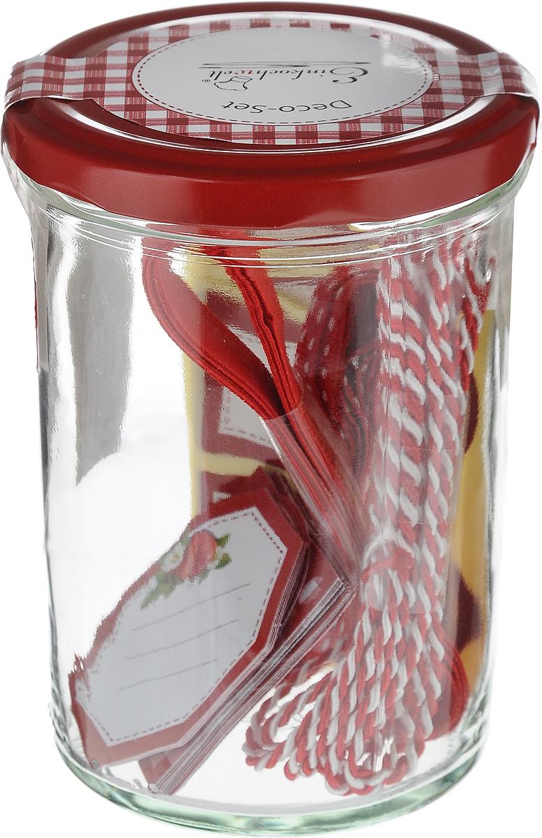Банка для сыпучих продуктов Einkochwelt Weck, с наклейками, с лентой, 440 мл348917Банка для сыпучих продуктов Einkochwelt Weck изготовлена из прочного стекла и дополненаметаллической крышкой. Такая модель станет незаменимым помощником на любой кухне. В нейбудет удобно хранить сыпучие продукты, такие, как чай, кофе, соль, сахар, крупы, макароны имногое другое. Емкость плотно закрывается крышкой, благодаря которой дольше сохраняяаромат и свежесть содержимого. Украсив банку наклейками и лентами, вы придадитеоригинальность вашему кулинарному шедевру и сможете использовать его в качестве подарка.Объем банки: 440 мл.