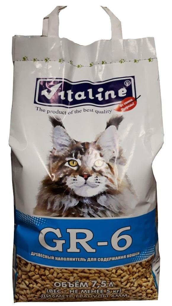 """Наполнитель для туалета Vitaline """"GR-6"""" для крупных кошек, древесный, 5 кг"""
