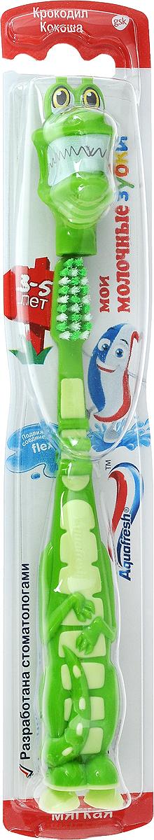 Aquafresh Зубная щетка Мои молочные зубки 3-5 цвет зеленый3428US_синийДетям от 3 лет до 5 лет. Зубная щетка Мои молочные зубки 3-5 лет разработана специально для бережного очищения молочных зубов малыша. Имеется крепление - присоска. Мягкие щетинки с закругленными кончиками предотвращают возможные повреждения десен. Подвижная головка контролирует давление на зубы и предотвращает возможные повреждения эмали и десен.