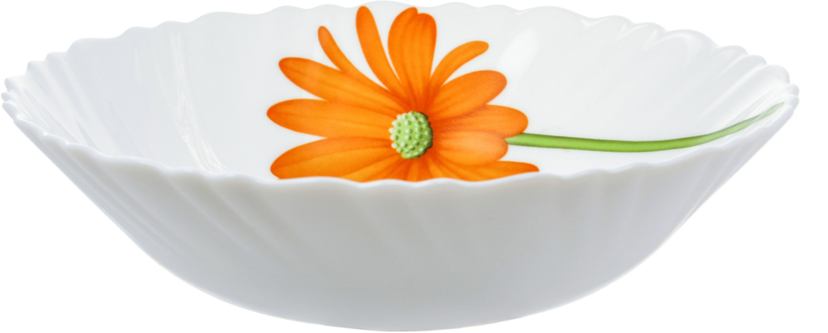 Салатник La Opala Гербера, диаметр 17 смOPCB009В 18 веке купец и гончар из Бристоля изобрел способ производства опалового непрозрачного стекла, оттенком напоминающего фарфор или эмаль и имеющего приятную бархатистую поверхность. Вплоть до начала 20 века его так и называли - бристольским опаловым стеклом. Сегодня считаются синонимами названия опаловое и молочное стекло. Неизменно одно: оставаясь по сути своей стеклом, опаловое или молочное стекло отличается от обычного наличием в составе специальных химических добавок - так называемых глушителей, изменяющих оптические свойства стекла. После формования конечной формы предмета и дополнительного нагрева (закаливания) до температуры свыше 4000 °С (температура размягчения стекла) эти дополнительные добавки образуют ядра кристаллизации, которые вырастают в кристаллы, полностью заполняющие все мельчайшие пространства.Посуда из опалового стекла обладает рядом преимуществ по сравнению с традиционной посудой из обычного стекла или фарфора. Во-первых, она очень легкая и гигиенически чистая благодаря отсутствию пор. Во-вторых, обладает повышенной устойчивостью: - к температурному шоку: поверхность стекла не будет лопаться из-за внезапных перепадов температуры; - к ударам: в несколько раз крепче стандартного стекла; - к износу: имеет высокую износоустойчивость. Именно поэтому опаловое стекло не боится царапин, обладает повышенной ударопрочностью. Посуду из опалового стекла можно мыть в посудомоечных машинах и готовить в нем пищу в микроволновой печи.В-третьих, опаловое стекло необычайно яркое. На гладкую поверхность посуды из опалового стекла отлично наносятся декоративные краски. Физико-химический состав опалового стекла позволяет краскам переливаться, из-за чего создаются сверкающие оттенки а-ля опал.