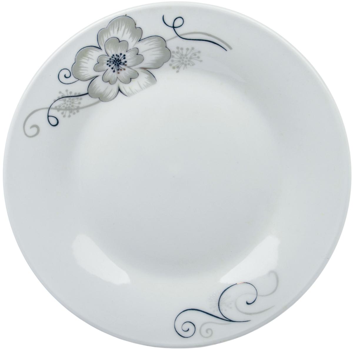 Тарелка Ningbo Royal Серый цветок, диаметр 15 см посуда из фарфора оптом