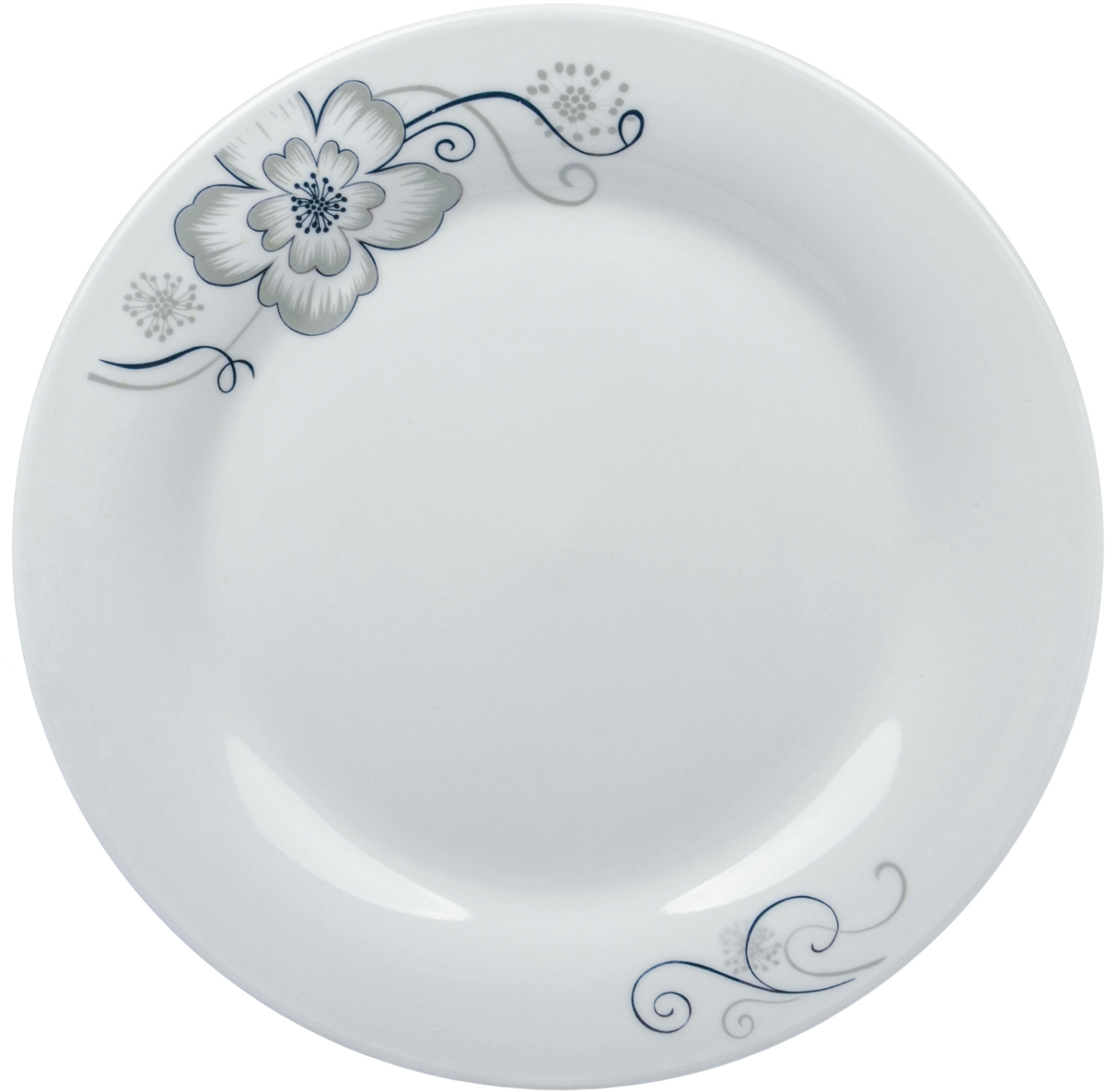 Тарелка Ningbo Royal Серый цветок, диаметр 23 см фарфоровая посуда дулево на авито