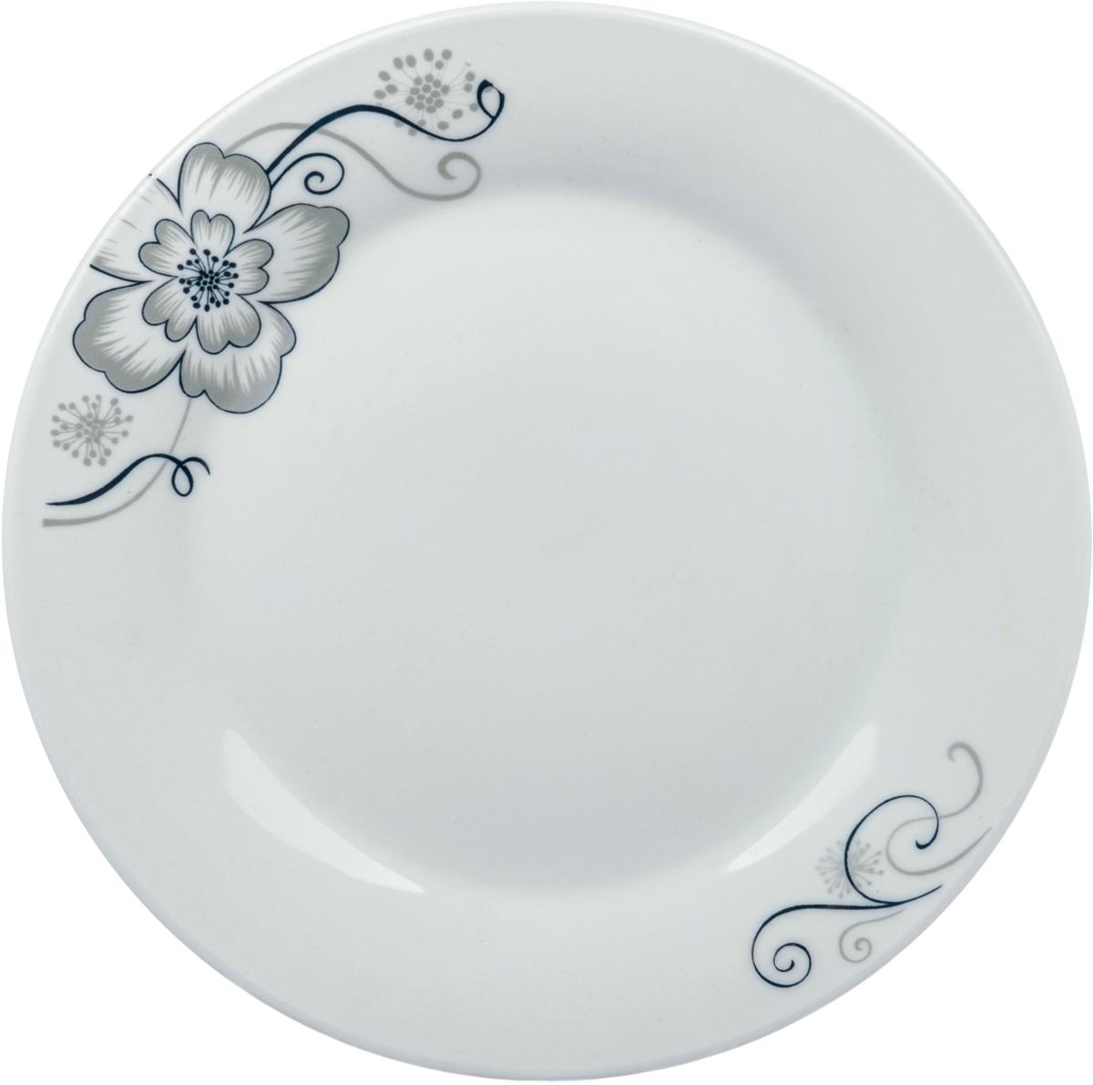 Тарелка десертная Ningbo Royal Серый цветок, диаметр 20 смRUCH068-13Фарфоровая столовая посуда фабрики Royal Union удивит вас приятным сочетанием отменного качества фарфора, классическими цветочными декорами. Посуда найдет свое применение как в городской квартире, так и в загородном доме. Классический декор будет одинаково хорошо смотреться в любое время года. Посуду из фарфора RU можно использовать в СВЧ и мыть в ПММ.