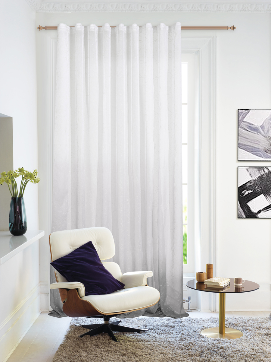 Штора Garden, на ленте, цвет: серый, высота 260 см. С 1287-W2529 V50С 1287 - W2529 V50Изящная штора Garden выполнена из тонкой полупрозрачной ткани имитация льна с эффектом радуги и растительным рисунком. Приятная текстура и цвет штор привлекут к себе внимание и органично впишутся в интерьер помещения.Штора крепится на карниз при помощи ленты, которая поможет красиво и равномерно задрапировать верх.