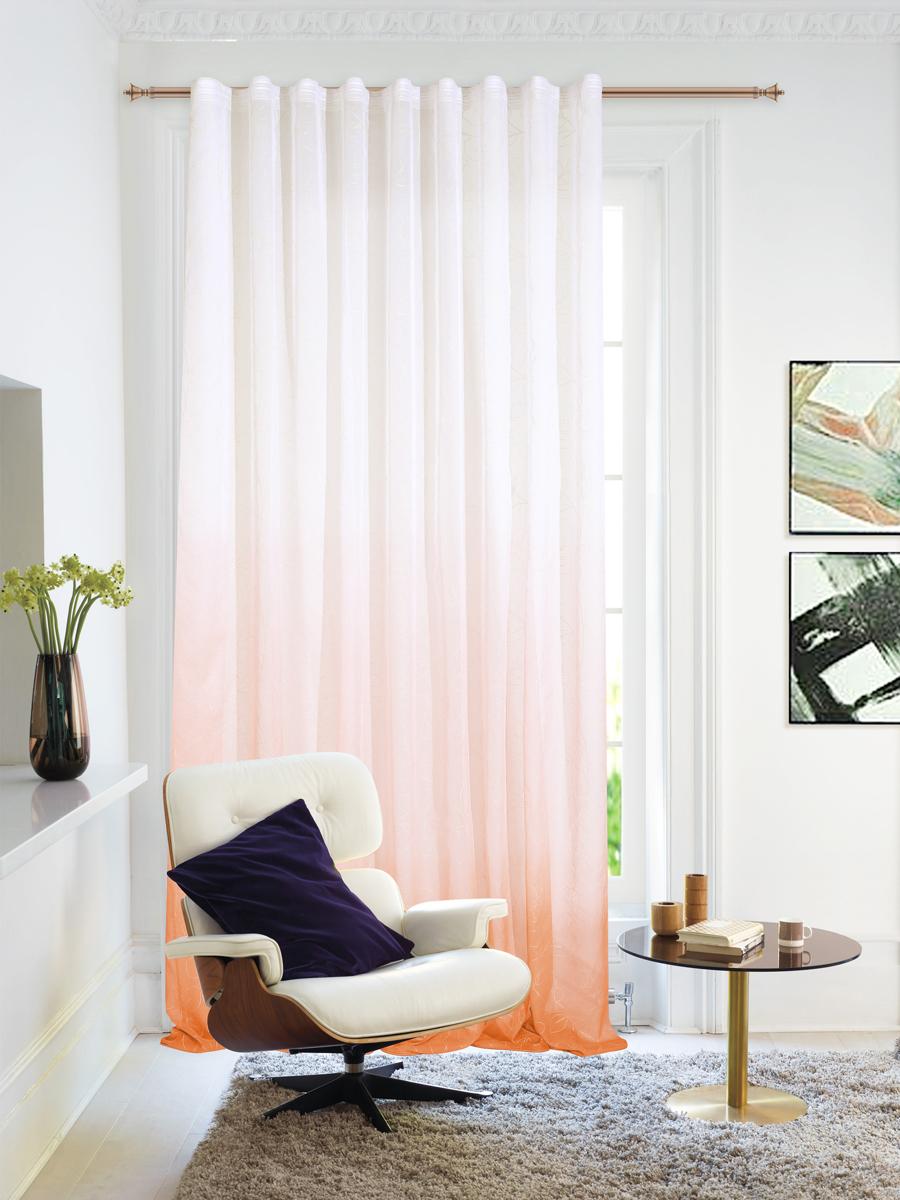 Штора Garden, на ленте, цвет: оранжевый, высота 260 см. С 1287-W2529 V53С 1287 - W2529 V53Тюлевая штора выполненная из тонкой полупрозрачной ткани, имитация льна с эффектом радуги и растительным рисунком. Подходит под любой интерьер.Штора крепится на карниз при помощи шторной ленты, которая поможет красиво и равномерно задрапировать верх.