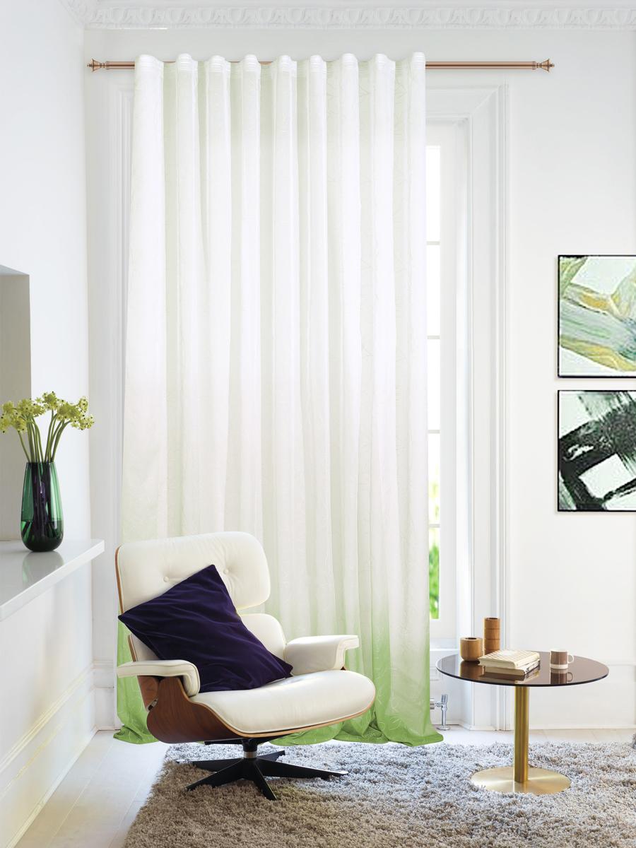 Штора Garden, на ленте, цвет: зеленый, высота 260 см. С 1287-W2529 V58С 1287 - W2529 V58Изящная штора Garden выполнена из тонкой полупрозрачной ткани, имитация льна с эффектом радуги и растительным рисунком.Приятная текстура и цвет штор привлекут к себе внимание и органично впишутся в интерьер помещения. Штора крепится на карниз при помощи ленты, которая поможет красиво и равномерно задрапировать верх.