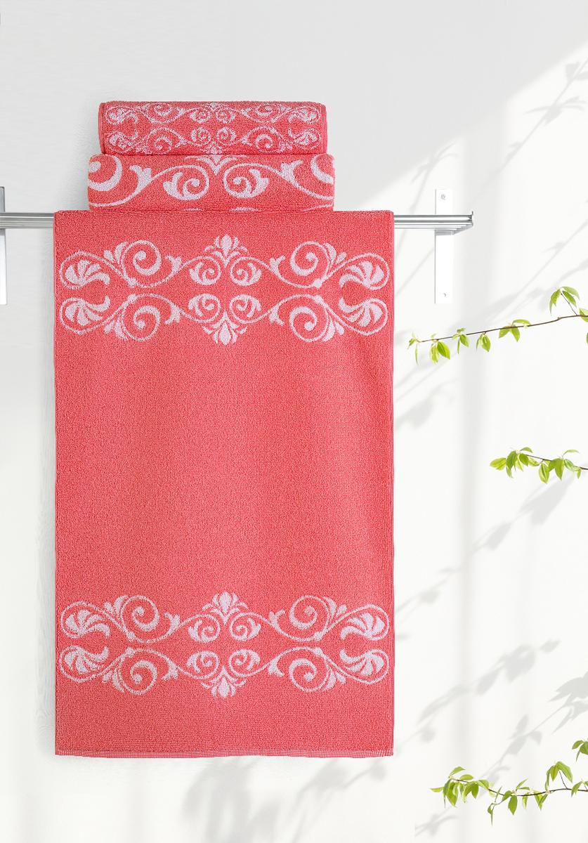 Полотенце Aquarelle Шарлиз, цвет: белый, коралловый, 50 х 90 см705982