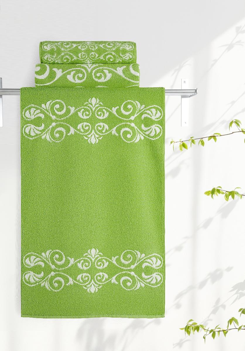 Полотенце Aquarelle Шарлиз, цвет: белый, травяной, 50 х 90 см полотенце махровое aquarelle таллин 1 цвет ваниль 50 х 90 см 707762