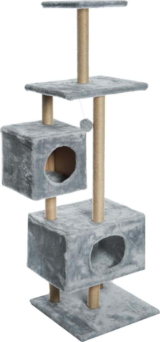 Домик-когтеточка Меридиан, квадратный, с площадкой и полкой, цвет: светло-серый, 65 х 51 х 173 см фигурка домик коряга цвет коричневый красный высота 20 см