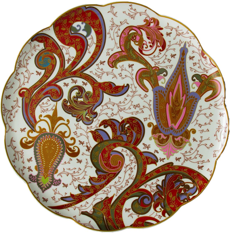 Блюдо Lamart Роспись цветов, диаметр 33 см133215Как приятно садиться за стол, который так и манит безукоризненной чистотой салфеток и стильной элегантной посудой! Блюдо серии Роспись цветов известной итальянской фабрики Lamart восхищает своей изысканной красотой. Необычной формы, с затейливым узорным орнаментом в теплых красно-коричневых тонах, оно украсит собой стол на самых пышных торжествах. Это блюдо будет прекрасным оформлением для изумительно вкусных десертов, благодаря которым гостям долго не захочется выходить из-за стола и покидать такой уютный и гостеприимный дом.