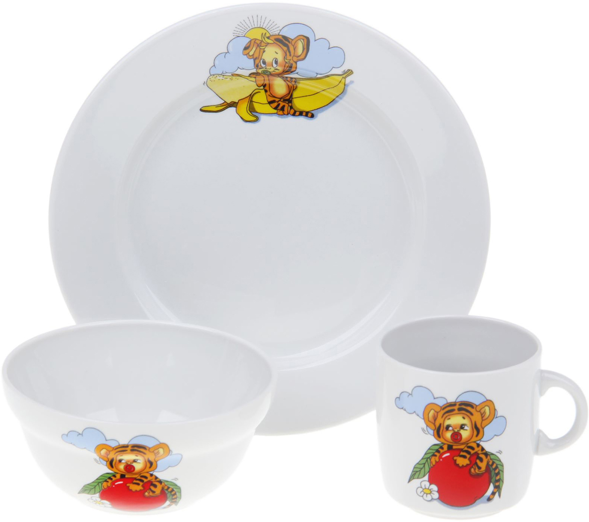 """Набор посуды """"Тигрята"""" изготовлен из высококачественного экологически чистого фарфора. В набор входят 3 предмета: тарелка, салатник, кружка. Посуда оформлена красочными рисунками.  Набор, несомненно, привлечет внимание вашего ребенка и не позволит ему скучать. Порадуйте своего ребенка этим замечательным набором!   Диаметр тарелки: 20 см.  Объем салатника: 335 мл.  Объем кружки: 210 мл."""