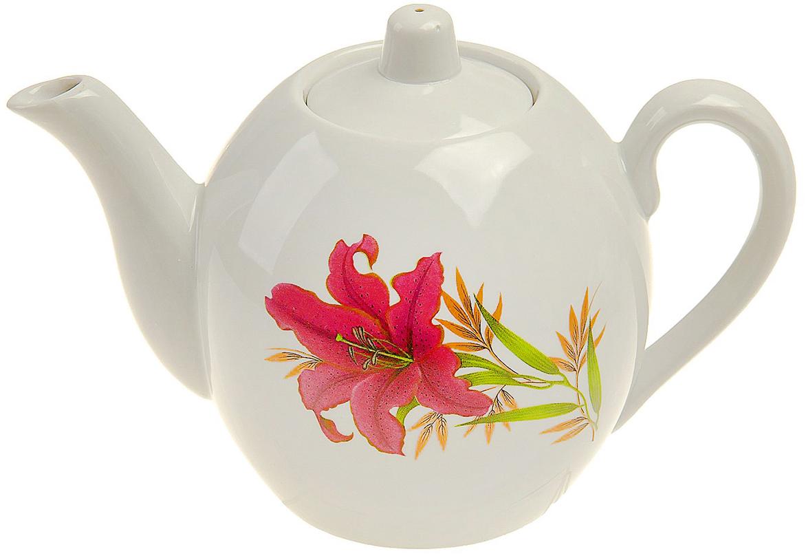 Чайник заварочный Фарфор Вербилок Розовая лилия, 800 мл. 173779 кружка фарфор вербилок розовая лилия 200 мл