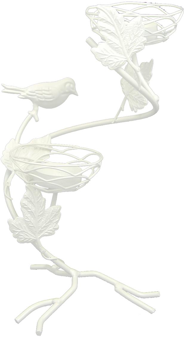 Подсвечник Птица на виноградной ветке у гнезда, цвет: белый, 16 х 15 х 26,5 см1902311Изысканный подсвечник станет превосходным подарком и украшением интерьера. Он будетрадовать вас и ваших близких, как только вы зажжете свечу. Изделие отлично смотрится нажурнальном столике или полочке с книгами.