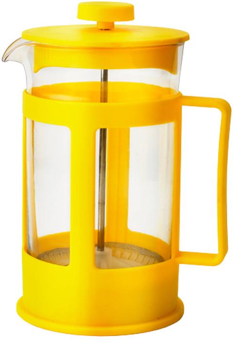 Френч-пресс Gelberk, цвет: желтый, 350 мл. GLK-810GLK-810Френч-пресс GLK-810Френч-пресс для заваривания кофе, чая и травянных сборовОбъем 350 млЖаропрочное стекло Пластиковый фильтр Цвет желтый