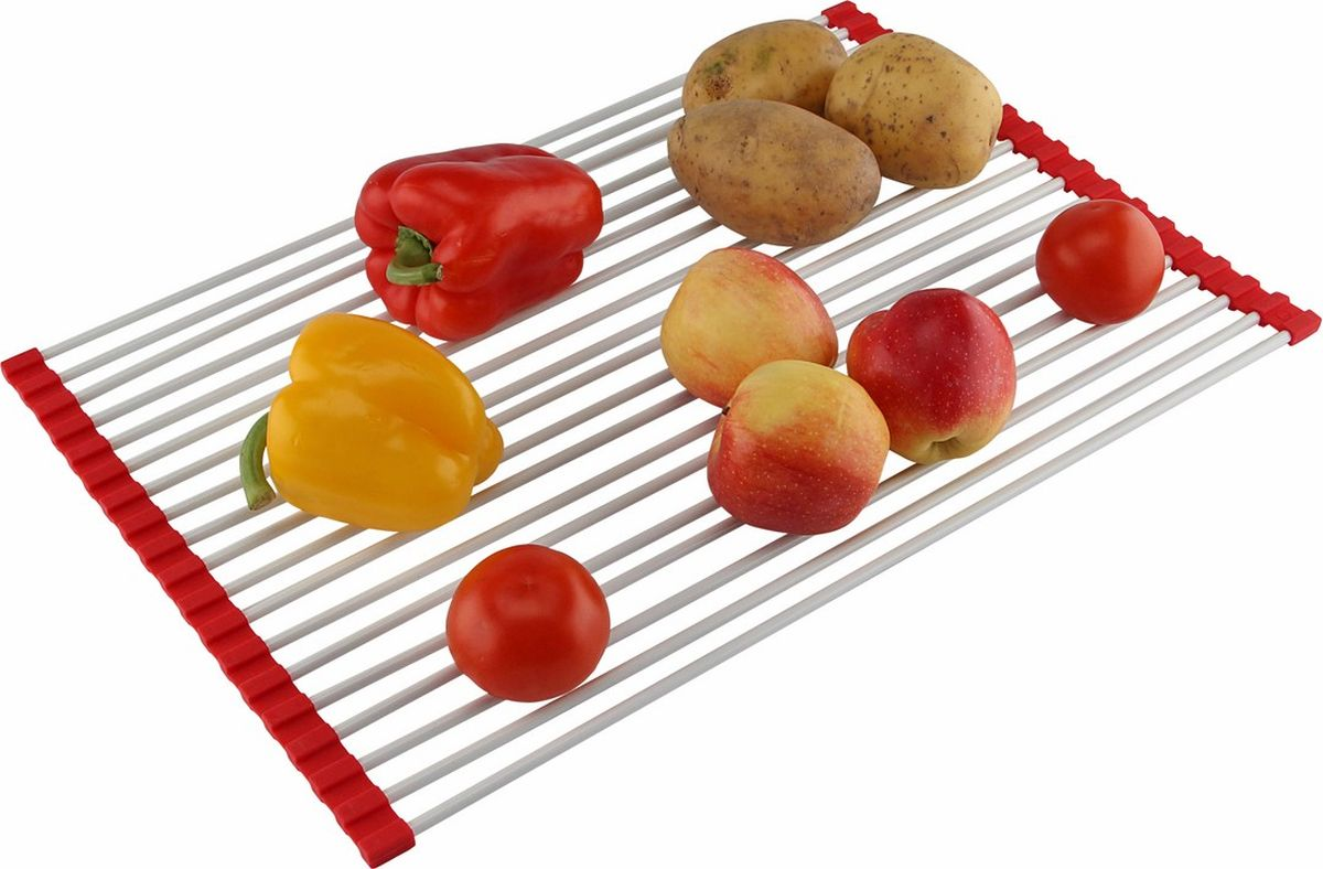 """Посуду и овощи-фрукты после мытья надо куда-то выкладывать для стекания воды и обсыхания. Подносы и полотенца занимают значительное место на рабочих столах, к тому же нуждаются после использования в просушивании и вытирании. Сушилка-сетка для раковин """"Сушка"""" легко и быстро организует место для сушения посуды и продуктов непосредственно над раковиной. Вода утекает в сток, а остальные поверхности свободны! Сушилка–сетка """"Сушка"""" компактно собирается для хранения: сворачивается, благодаря силиконовым держателям, в которых закреплены спицы. На Сушилке """"Сушка"""" удобно просушивать зелень после мытья: укроп, петрушку, шпинат. В салатах не будет лишней влаги и они станут вкуснее! Укладывайте листья поперек, чтобы они не выпадали. Размер: 52 х 35,5 см. Вес: 290 г. Количество спиц: 19 шт (диаметр спицы 6 мм). Инструкция на русском языке."""