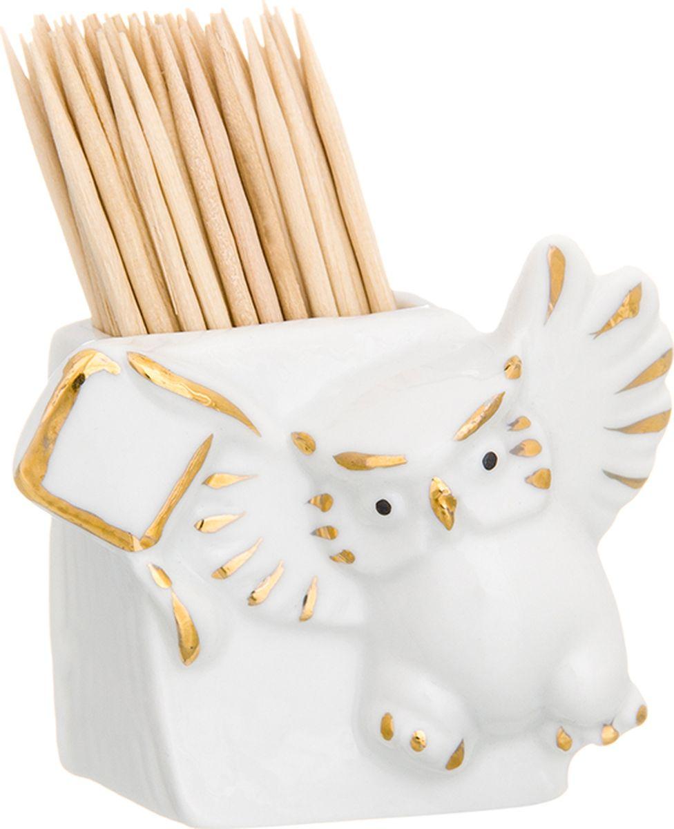 Вазочка под зубочистки Elan Gallery Сова, цвет: белый, высота 5 см вазочка под зубочистки elan gallery башмачок цвет оранжевый 7 х 3 5 х 5 см