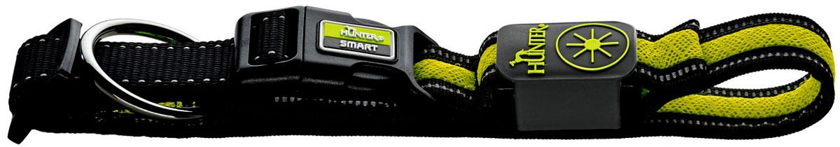 Ошейник Hunter LED Manoa Glow, cветящийся, цвет: черный, желтый, размер: S (45-50 см)93106Стильный светодиодный ошейник Hunter LED Manoa Glow выполнен из прочного качественного текстиля и имеетспециальное кольцо для крепления к поводку.Зарядка ошейника - через USB.Дополнительные отражающие полосы улучшают видимость при выключении светодиодов.С ошейником Hunter LED Manoa Glow питомец всегда будет на виду благодаря четырехчасовому миганию илипостоянному освещению.Обхват шеи 45 - 50 см.