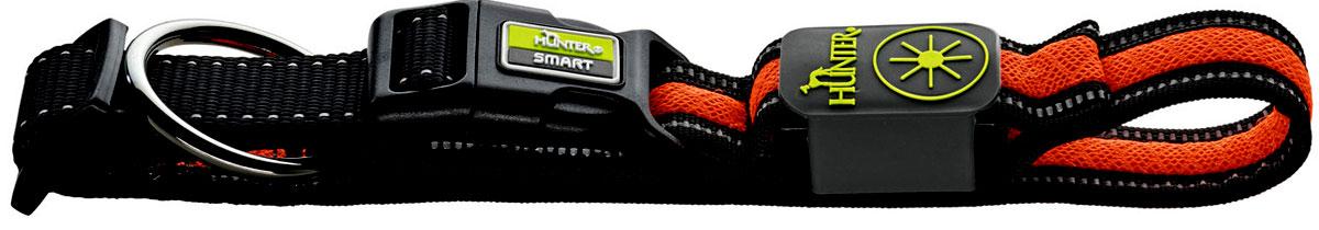 Ошейник Hunter LED Manoa Glow, cветящийся, цвет: черный, оранжевый, размер: M (50-55 см)