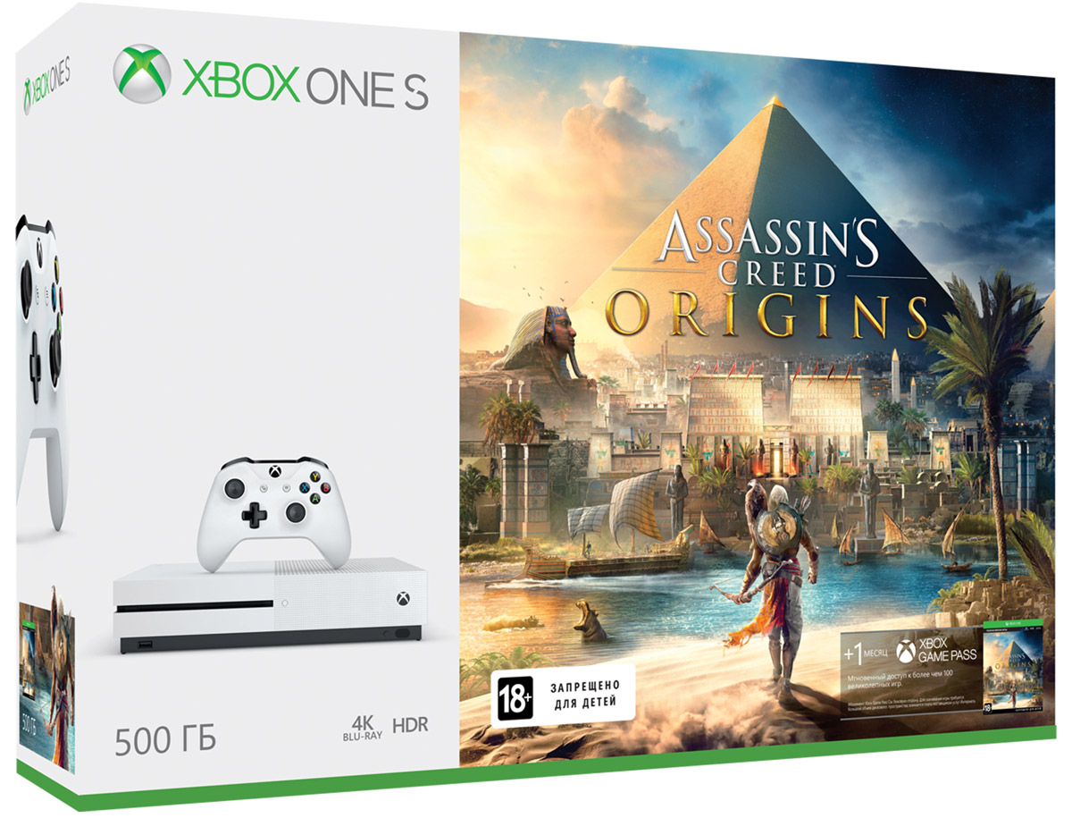 Игровая приставка Xbox One S 500 ГБ + Assassin's Creed Origins, Microsoft