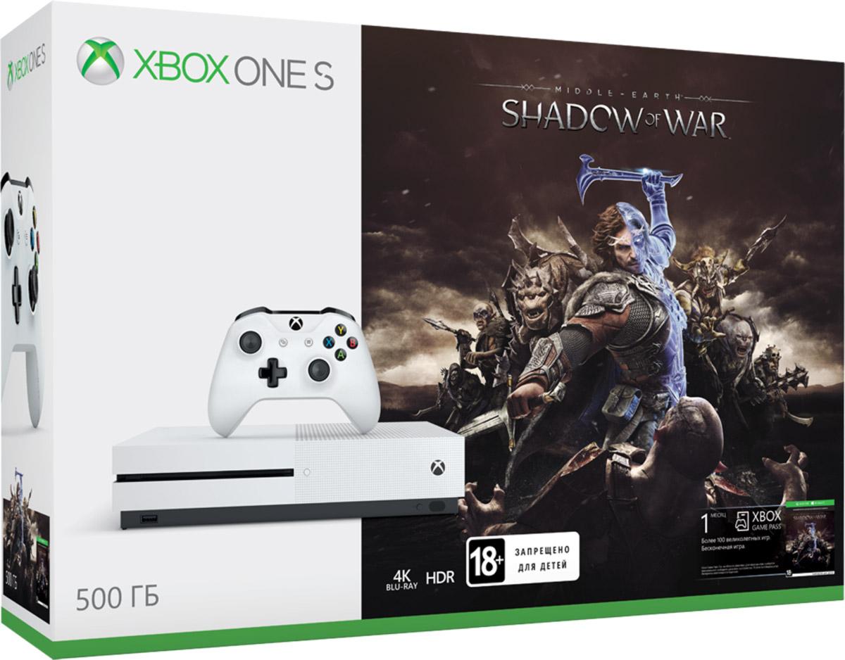 Игровая приставка Xbox One S 500 ГБ + Shadow of War889842212648Играй в лучшую линейку игр, включая классические игры с Xbox 360, на консоли, которая компактнее на 40%. Не обманывайся ее размером, благодаря встроенному блоку питания и жесткому диску емкостью до 1 ТБ консоль Xbox One S — самая продвинутая из всех Xbox на сегодняшний день! В эпическом продолжении удостоенной наград игры Средиземье: Тени Мордора тебе предстоит отправиться в стан врагов, чтобы собрать армию, покорять крепости и завоевать Мордор изнутри. Узнай, как потрясающая система заклятых врагов создает уникальные биографии для каждого врага и соратника. Дай отпор всей мощи Темного властелина Саурона и его назгулам в новой эпической истории о Средиземье. В комплект входит Войско легендарных героев (четверо легендарных воинов из разных племен) и эксклюзивный эпический Меч Власти.